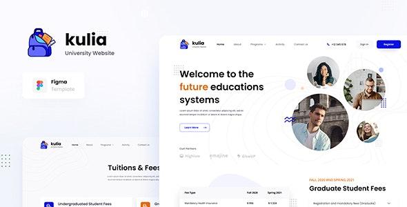 Kulia - Modern University Website UI Template Figma - Figma UI Templates