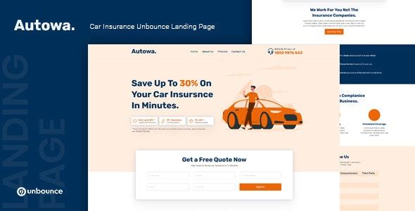 Autowa — Car Insurance Unbounce Landing Page Template - Unbounce Landing Pages Marketing