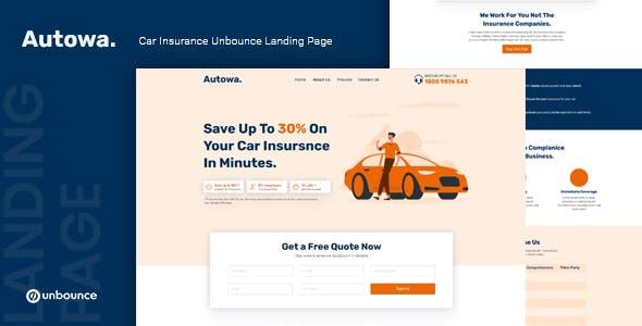 Autowa — Car Insurance Unbounce Landing Page Template