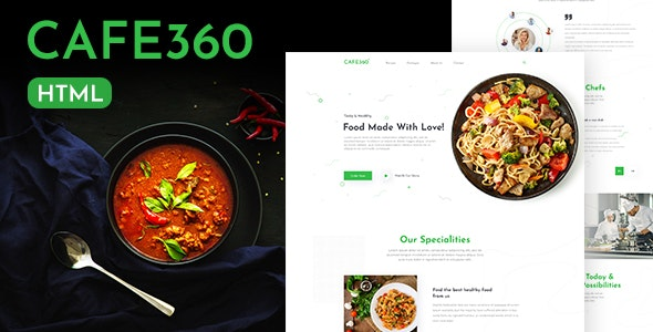 Cafe360 | Restaurant One Page HTML Template - Food Retail