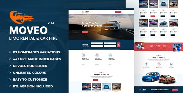 Moveo: Party Buses, Limo Rental and Car Hire HTML Template