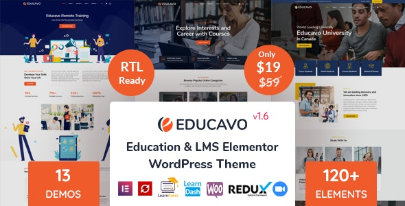 Educavo - Online Courses & Education WordPress Theme - Education WordPress