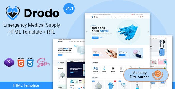 Drodo - Medical Supply eCommerce HTML Template