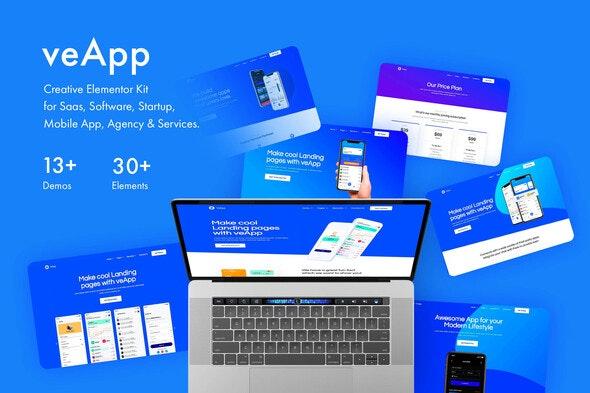 veApp - Mobile App & Startup Template Kit - Technology & Apps Elementor