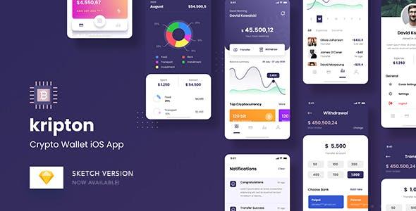 Kripton - Crypto Wallet iOS App Sketch Template