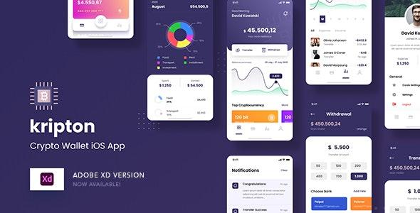 Kripton - Crypto Wallet iOS App Adobe XD Template - Business Corporate