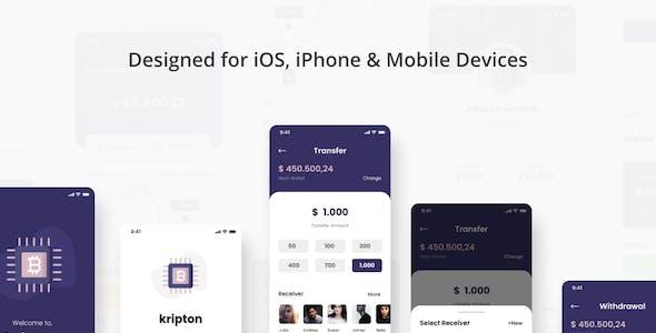 Kripton - Crypto Wallet iOS App Adobe XD Template