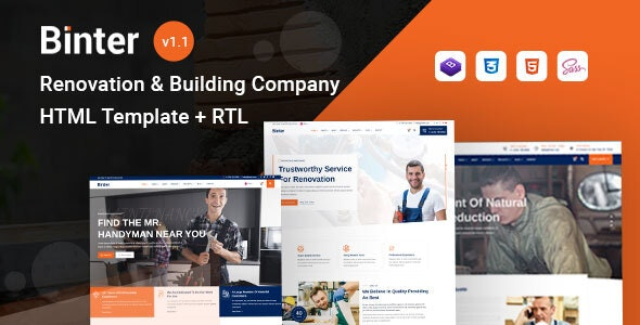 Binter - Renovation & Building Company HTML Template - Business Corporate