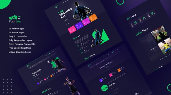 Footme - Football Player Portfolio HTML Templates - Portfolio Creative