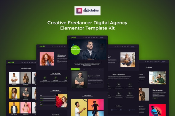 Foxiid - Creative Freelancer Elementor Template Kit - Creative & Design Elementor