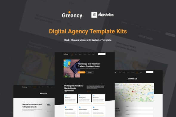 Greancy - Digital Business Agency Elementor Template Kit - Business & Services Elementor