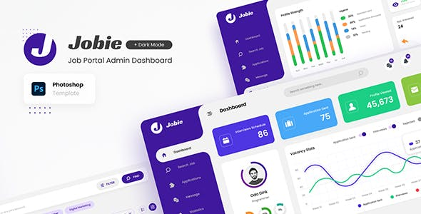 Jobie Admin - Portal Dashboard UI Template PSD