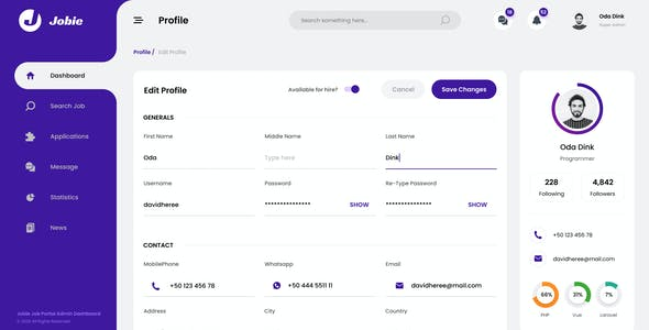 Jobie Admin - Portal Dashboard UI Template Figma
