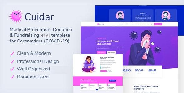 Cuidar - Coronavirus Medical Prevention, Donation & Fundraising HTML Template - Health & Beauty Retail