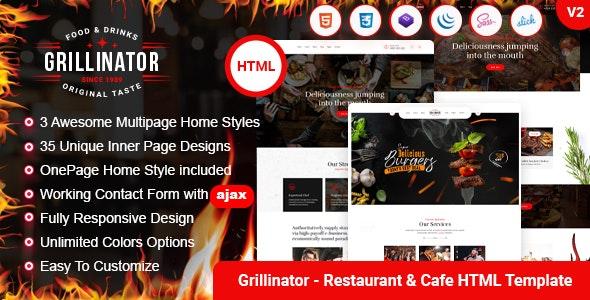 Grillinator - Food Restaurant Cafe Grill & Bistro HTML Template - Restaurants & Cafes Entertainment