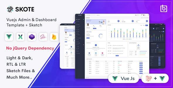 Skote - Vuejs Admin & Dashboard Template + Sketch - Admin Templates Site Templates