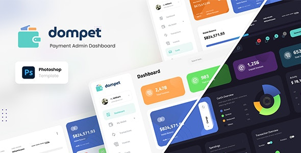 Dompet - Payment Admin Dashboard UI Template PSD - Miscellaneous Photoshop
