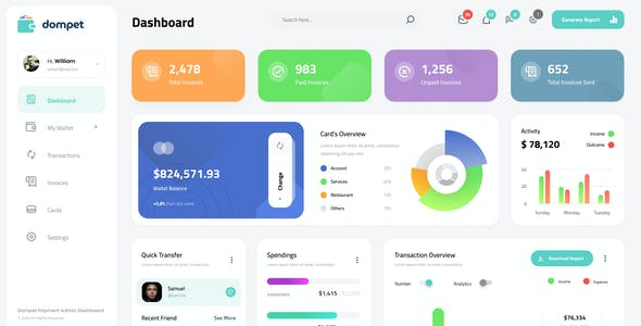 Dompet - Payment Admin Dashboard UI Template Figma