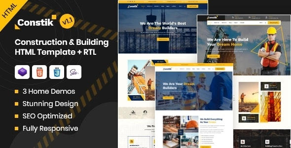 Constik - Construction & Building Company HTML Template - Business Corporate