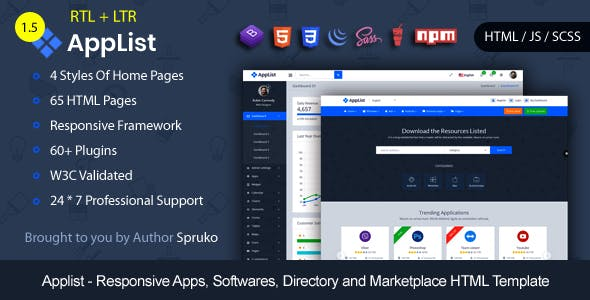 Applist -Bootstrap Responsive Apps, Softwares, and Multipurpose App Marketplace HTML Template
