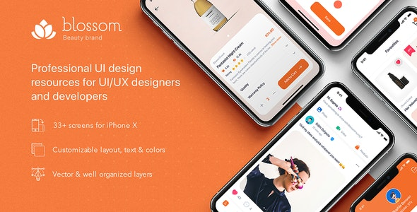 Blossom - Beauty UI Kit for Sketch - Sketch UI Templates
