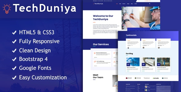 TechDuniya Responsive HTML5 Electrical Service Template - Business Corporate