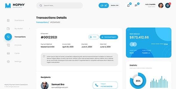 Mophy - Payment Admin Dashboard Bootstrap Template
