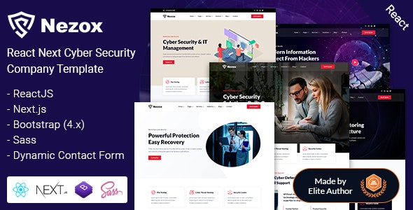 Nezox - React Next Cyber Security Company Template - Technology Site Templates