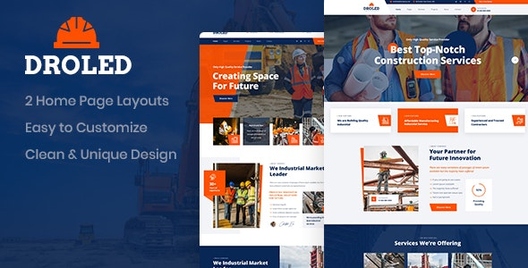 Droled - Building Construction PSD Template - Business Corporate