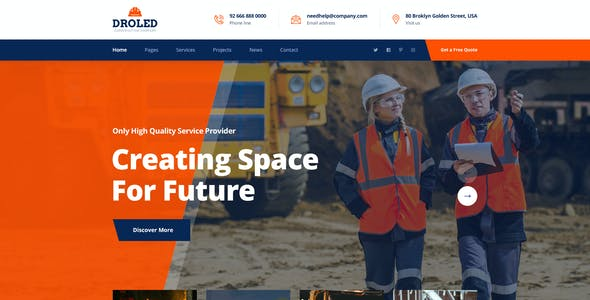 Droled - Building Construction PSD Template