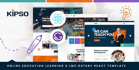 Kipso - Gatsby React Online Education Learning & LMS Template - Business Corporate