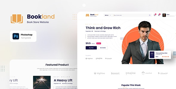 Bookland - Book Store Ecommerce Website - Retail Photoshop
