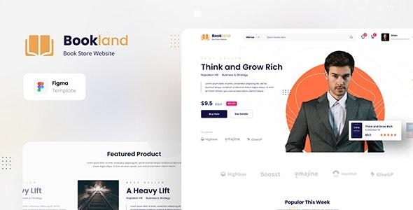 Bookland - Book Store Ecommerce Website Figma Template - Retail Figma