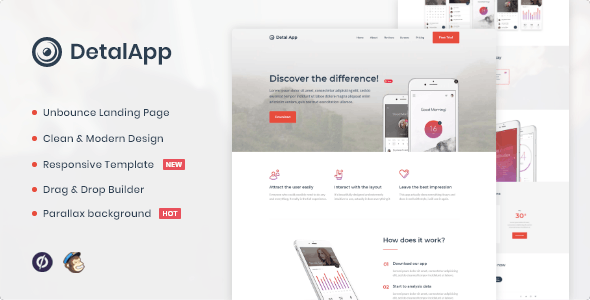 Detalapp - App Unbounce Landing Page Template - Unbounce Landing Pages Marketing