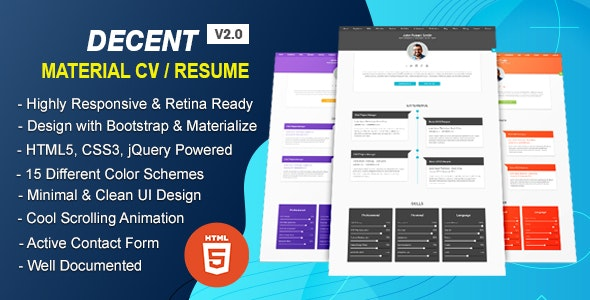 Decent - Material Design Professional CV/Resume HTML Template - Resume / CV Specialty Pages