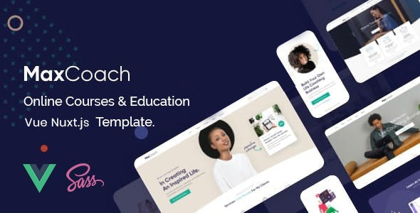 MaxCoach - Online Courses & Education Vue Nuxt JS Template - Nonprofit Site Templates
