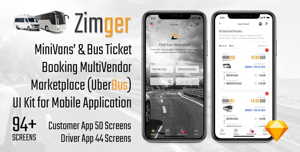 Zimger – Bus Booking UI Kit for iOS & Android - Travel Retail