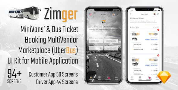 Zimger – Bus Booking UI Kit for iOS & Android