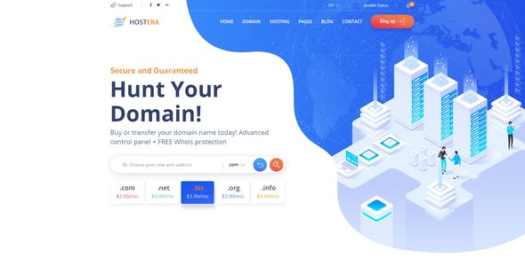 Hostera - Web Hosting and Domain PSD Template