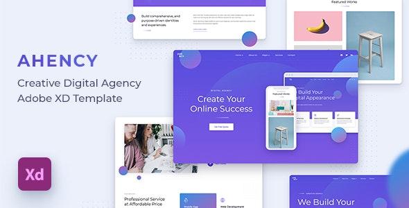 AHENCY - Creative Digital Agency Adobe XD Template - Portfolio Creative