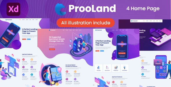 ProoLand - App & Product Landing Page - Technology Adobe XD