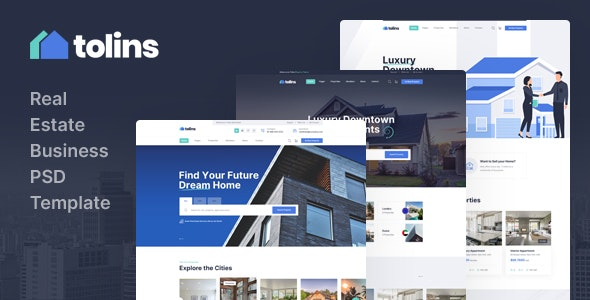 Tolips - Real Estate Business PSD Template - Business Corporate