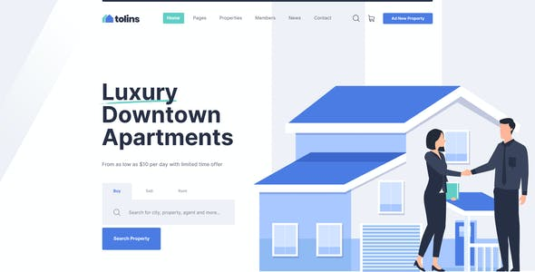 Tolips - Real Estate Business PSD Template