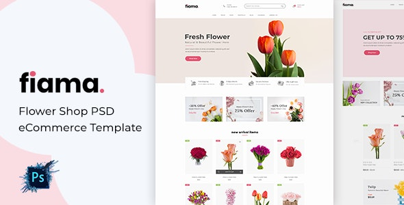 Fiama - Flower Shop PSD eCommerce Template - Shopping Retail