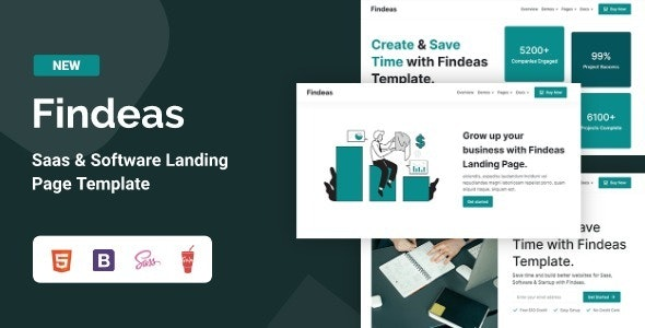 Findeas – Saas & Software Landing Page Template - Technology Site Templates
