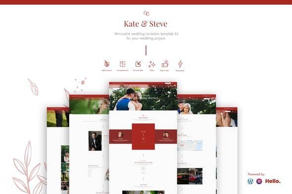Kate & Steve - Wedding Invitation Elementor Template Kit - Weddings Elementor