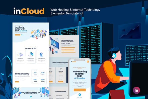 inCloud - Web Hosting  Elementor Template Kit - Technology & Apps Elementor
