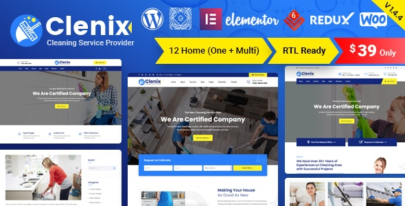Clenix - Cleaning Services WordPress Theme - Business Corporate