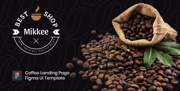 Mikkee - Coffee Landing Page Figma UI Template - Restaurants & Cafes Entertainment
