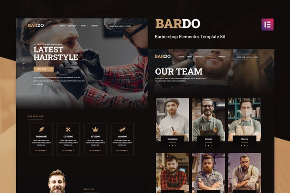 Bardo - Gentleman Barbershop Elementor Template Kit - Fashion & Beauty Elementor